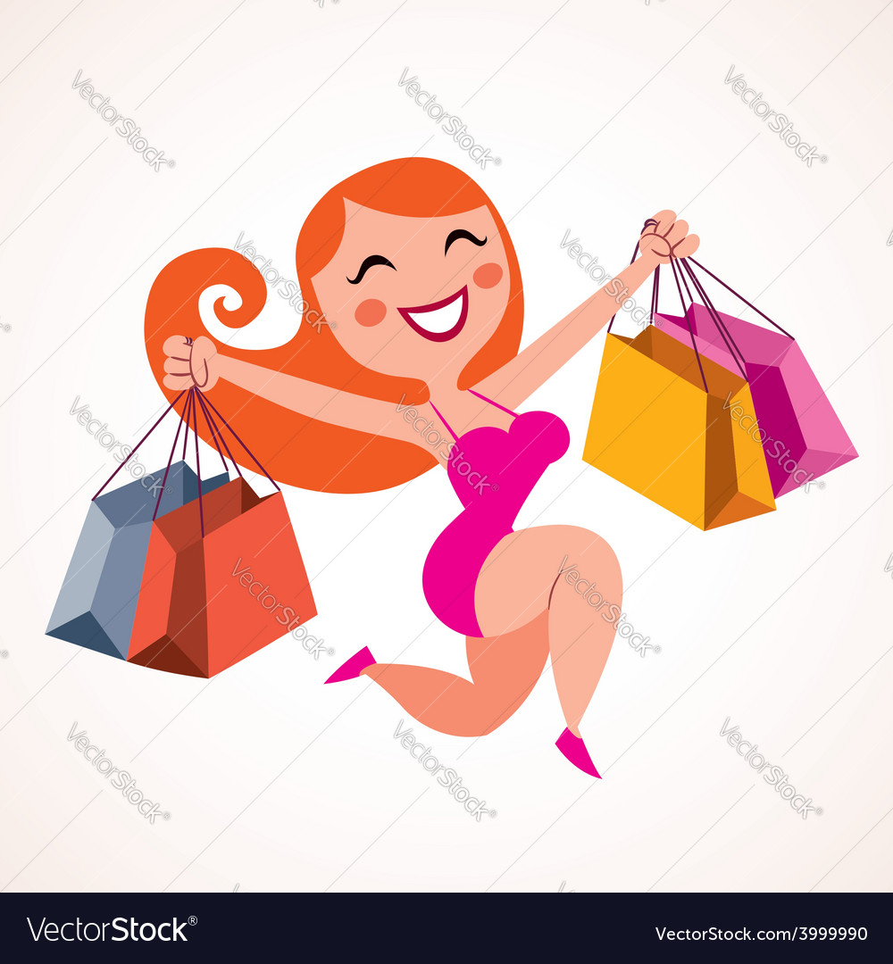 Pretty girl shopping vector | Price: 1 Credit (USD $1)