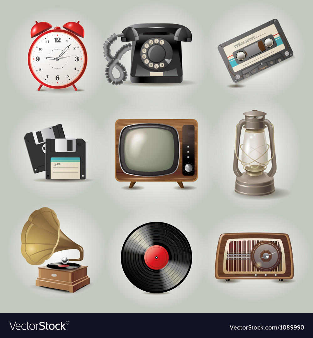 Retro icons vector | Price: 5 Credit (USD $5)