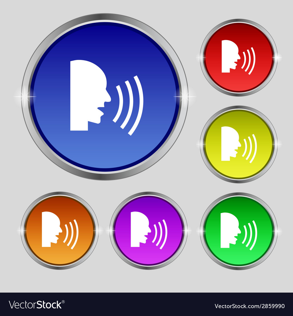 Talking flat modern web icon set colour button vector | Price: 1 Credit (USD $1)