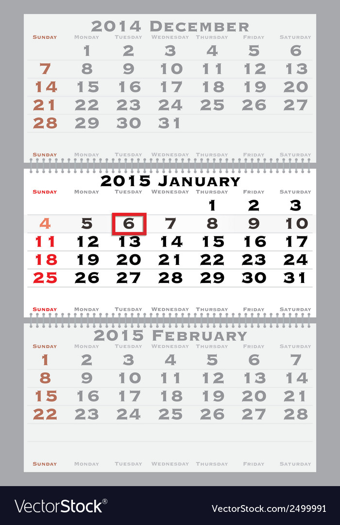2015 january with red dating mark vector | Price: 1 Credit (USD $1)