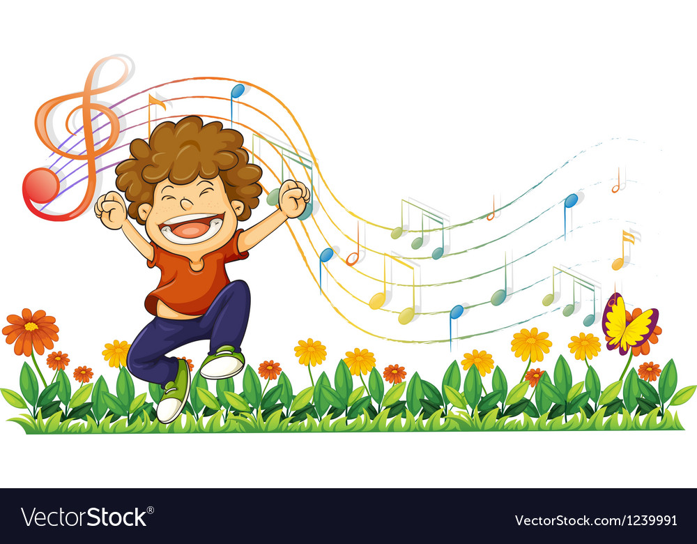 A boy singing out loud with musical notes vector | Price: 1 Credit (USD $1)