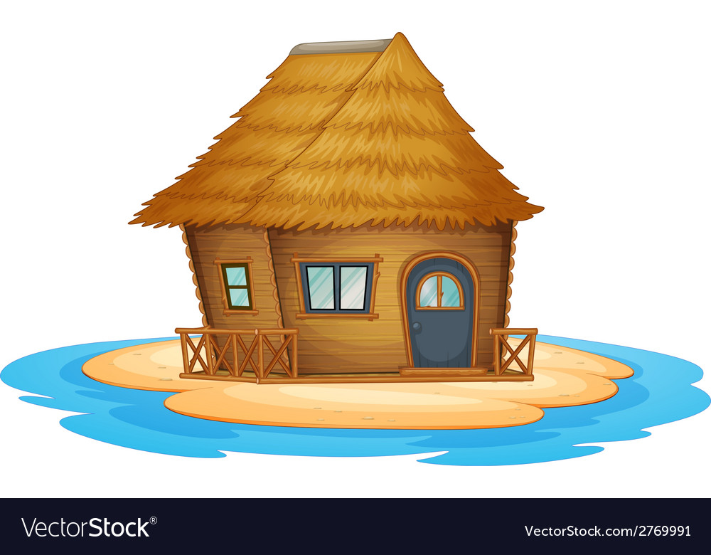 Bungalow on desert island vector | Price: 1 Credit (USD $1)