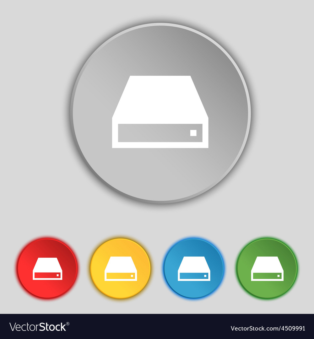 Cd-rom icon sign symbol on five flat buttons vector | Price: 1 Credit (USD $1)