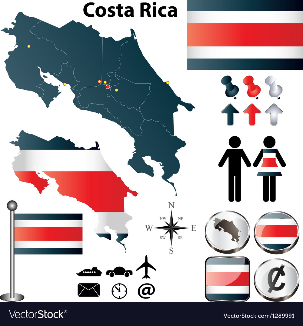 Costa rica map vector | Price: 1 Credit (USD $1)