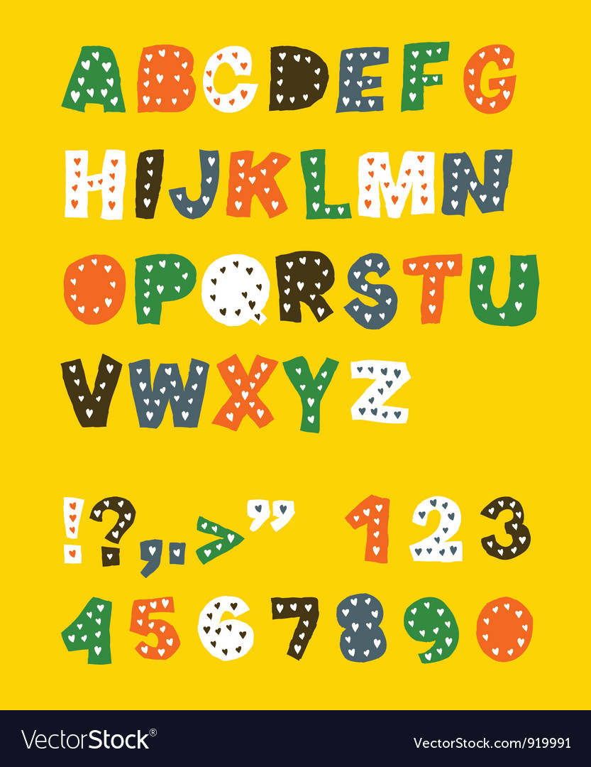 Cute childish font vector | Price: 1 Credit (USD $1)