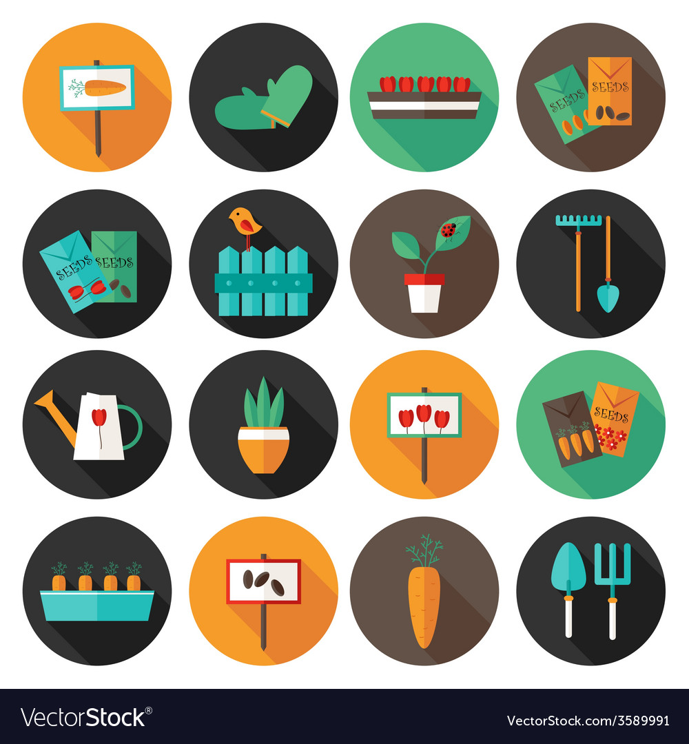 Gardening set circle flat icons vector | Price: 1 Credit (USD $1)
