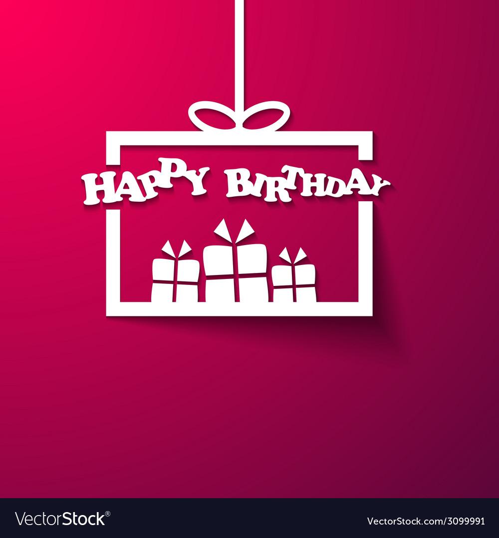 Gift box happy birthday invitation card vector | Price: 1 Credit (USD $1)