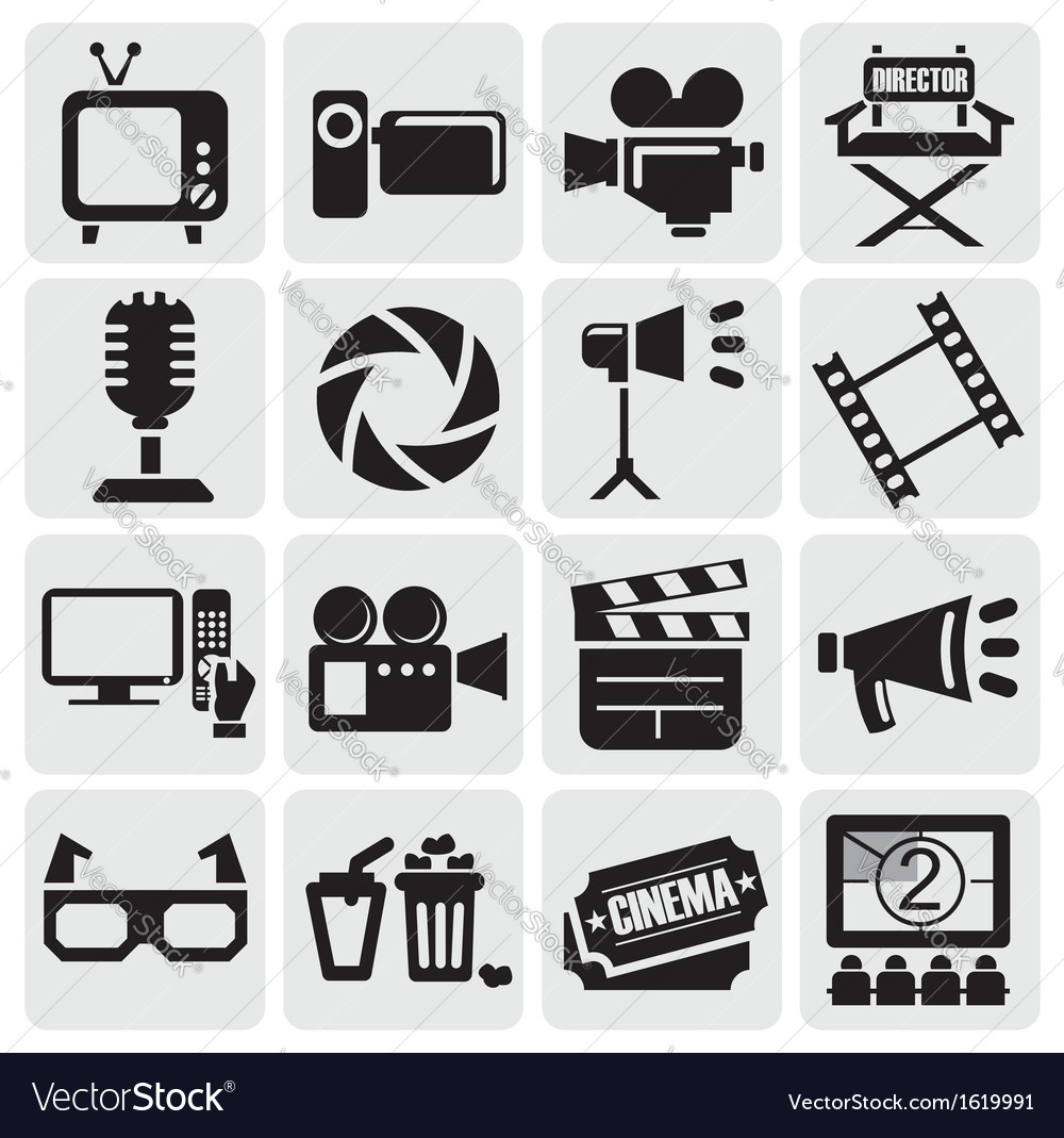 Movie icons set vector | Price: 1 Credit (USD $1)