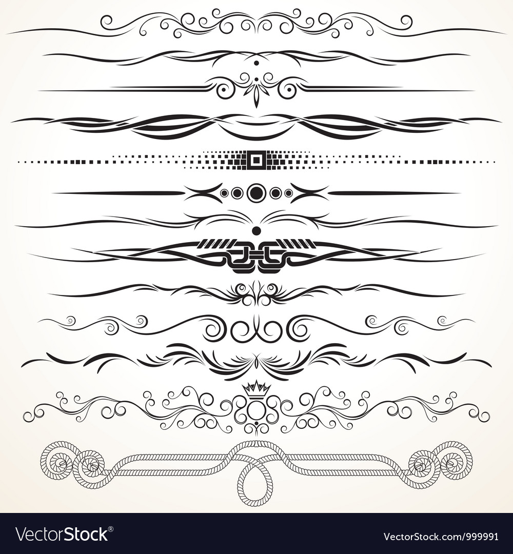 Ornate vintage borders and rule lines vector | Price: 1 Credit (USD $1)