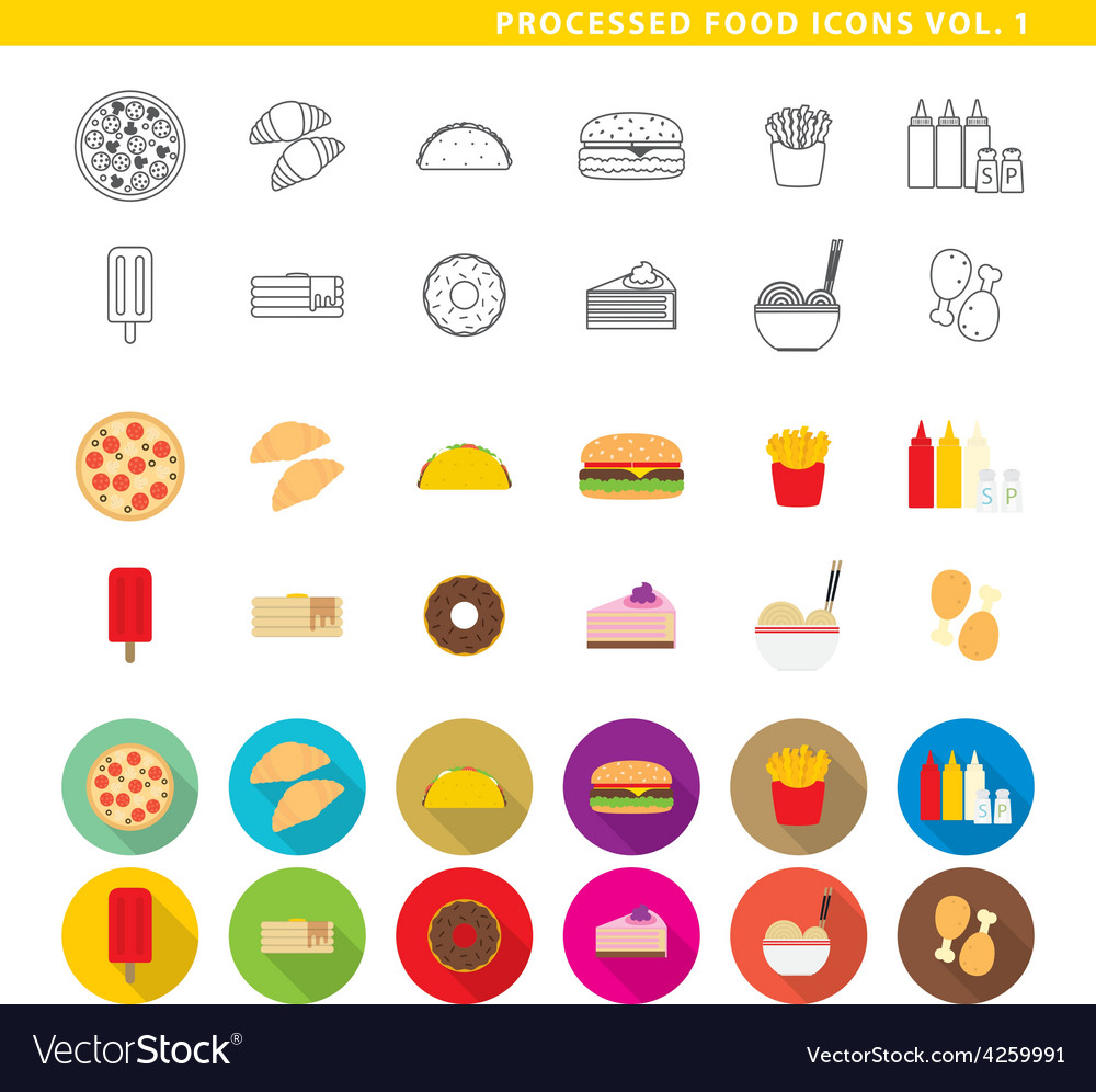 Processed food icons 001 vector | Price: 1 Credit (USD $1)