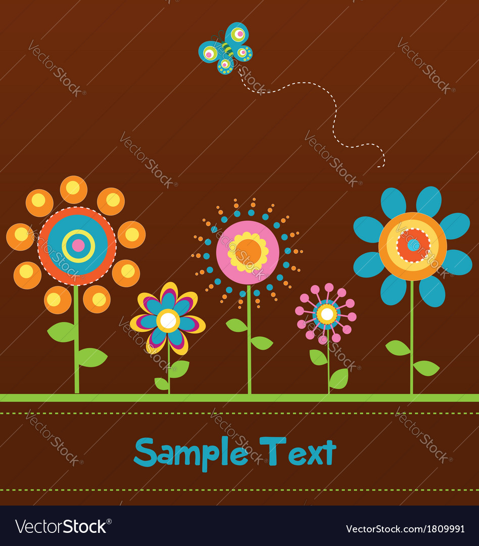 Retro flower card 2 vector | Price: 1 Credit (USD $1)