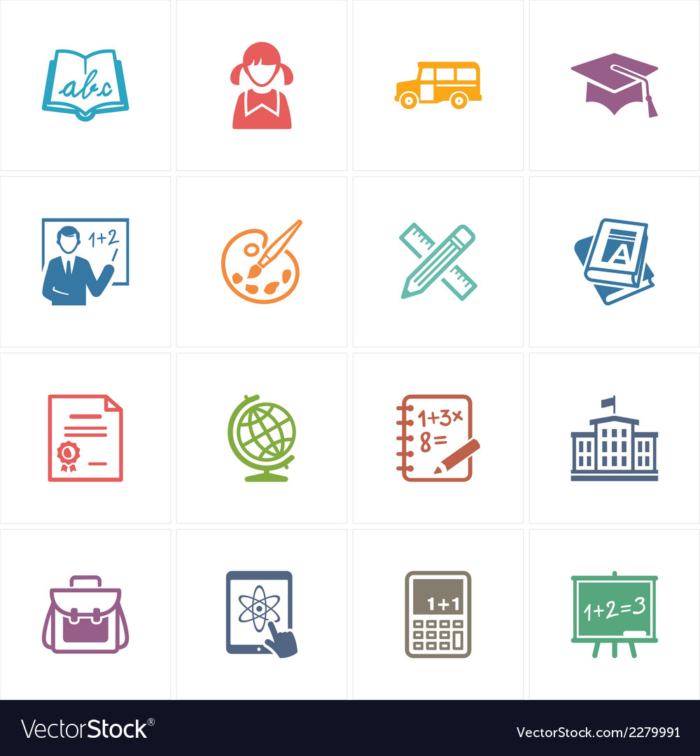 School and education icons set 1 - colored series vector | Price: 1 Credit (USD $1)