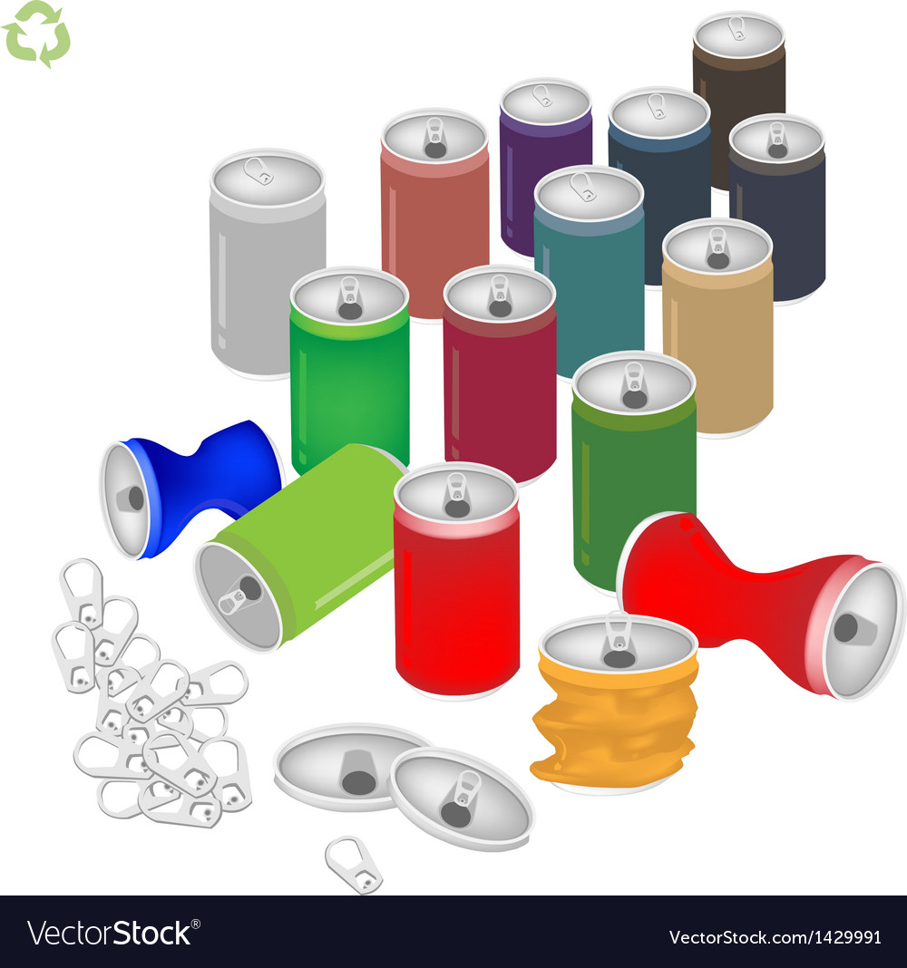Soda cans with recycle symbol for save the world vector | Price: 1 Credit (USD $1)