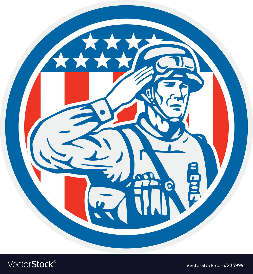 Soldier military serviceman salute circle retro vector | Price: 1 Credit (USD $1)