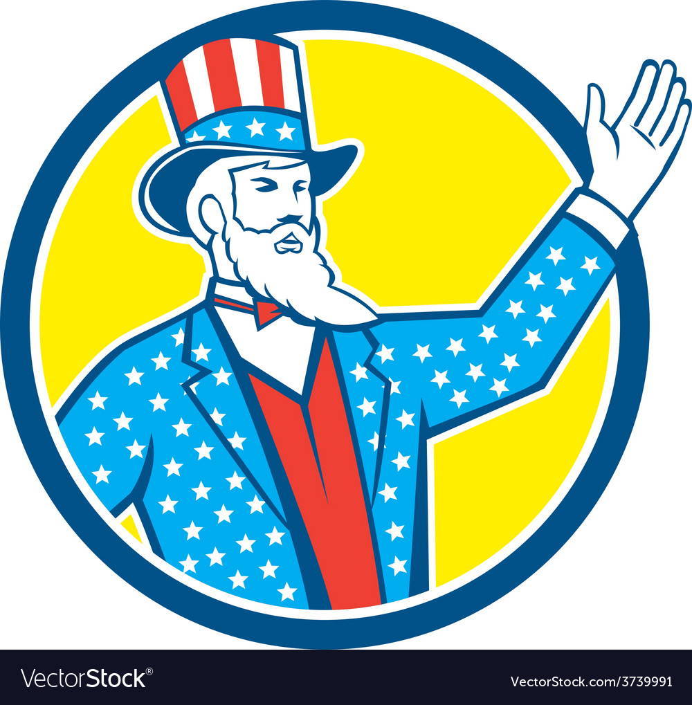 Uncle sam american hand up circle retro vector | Price: 1 Credit (USD $1)