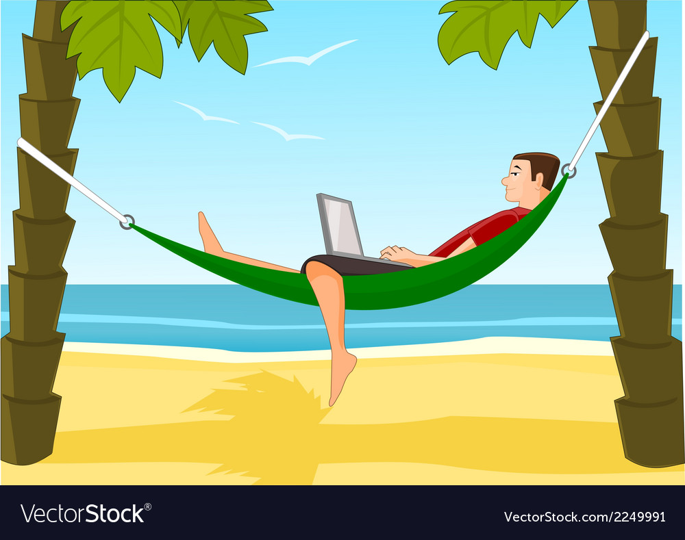 Work on a beach vector | Price: 1 Credit (USD $1)
