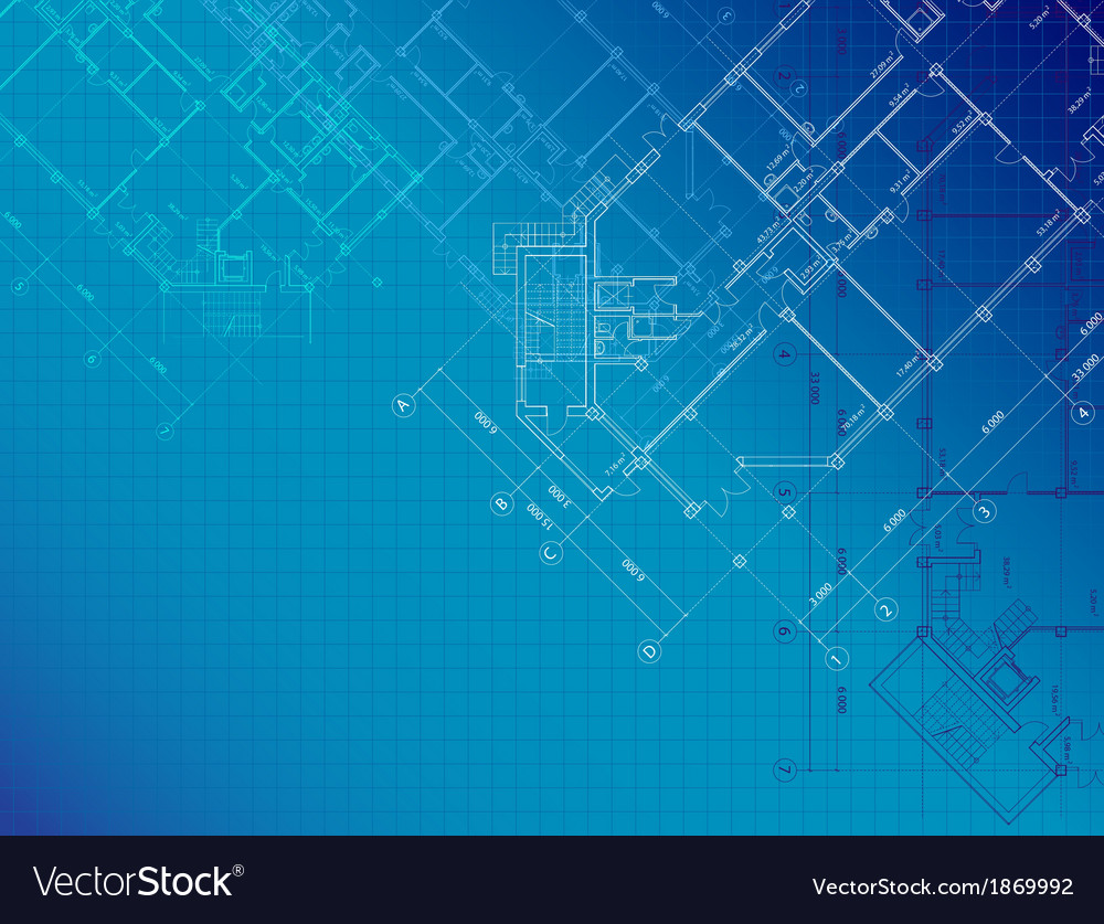 Blue architectural background with plans vector | Price: 1 Credit (USD $1)