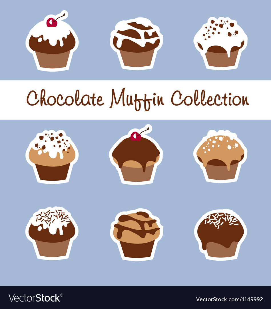 Chocolate muffin collection vector | Price: 1 Credit (USD $1)