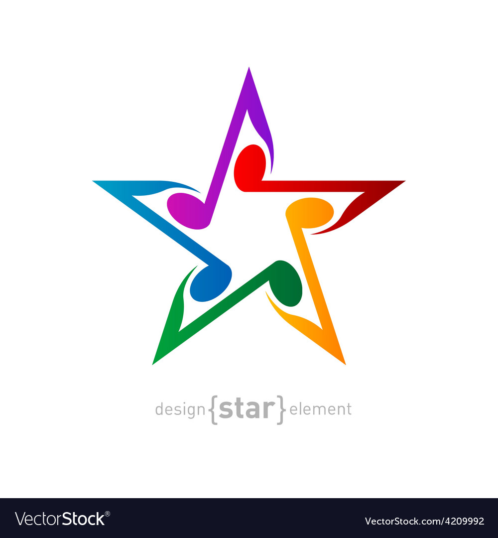 Colorful star with wavy notes on white background vector | Price: 1 Credit (USD $1)