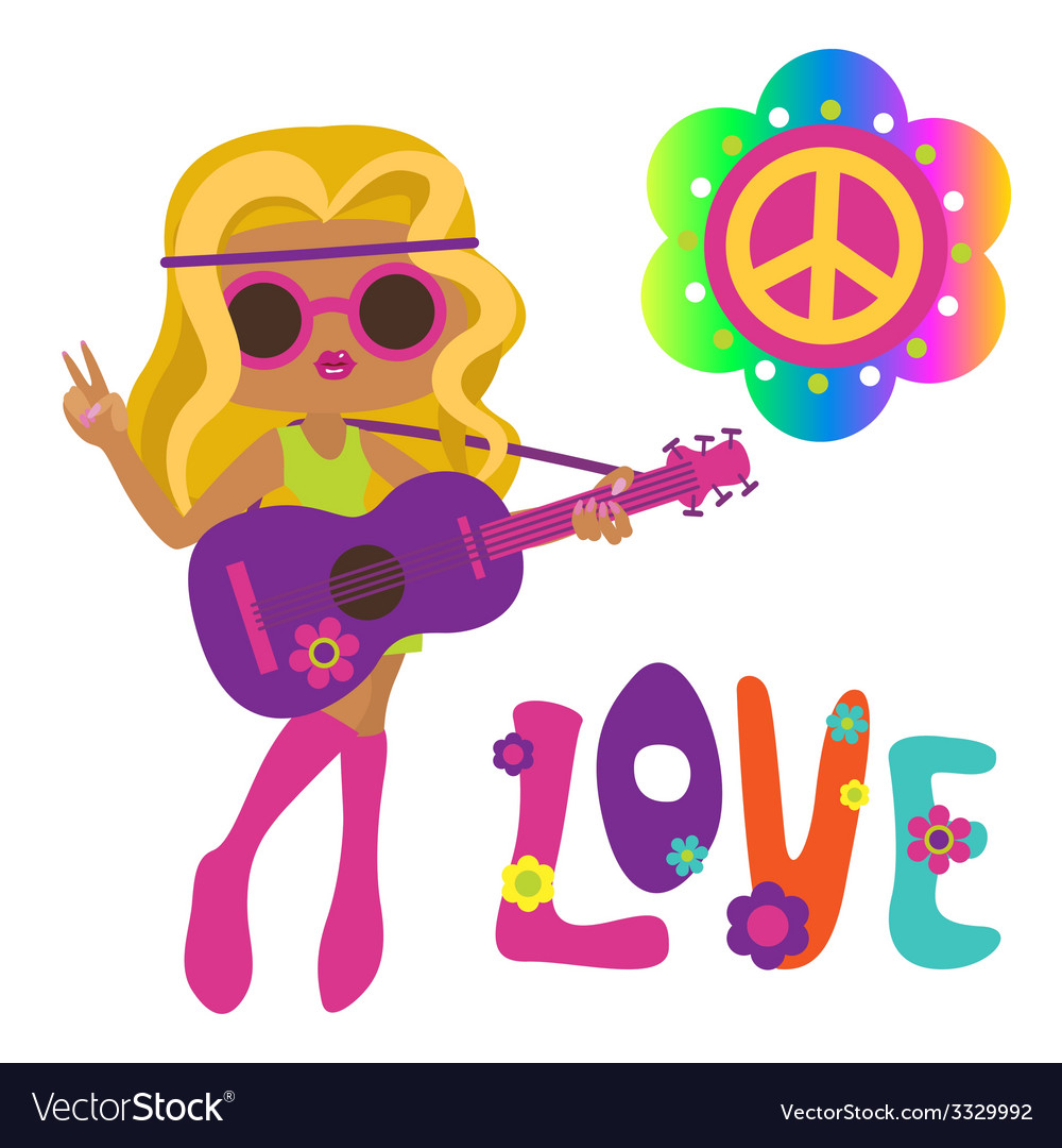 Cute hippie girl with guitar vector | Price: 1 Credit (USD $1)