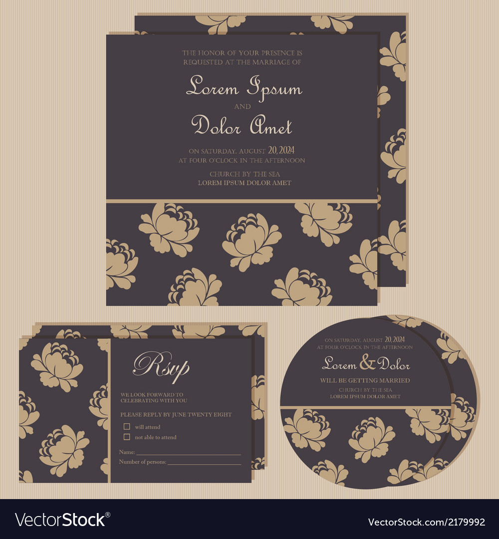 Dark wedding invitations with floral background vector | Price: 1 Credit (USD $1)