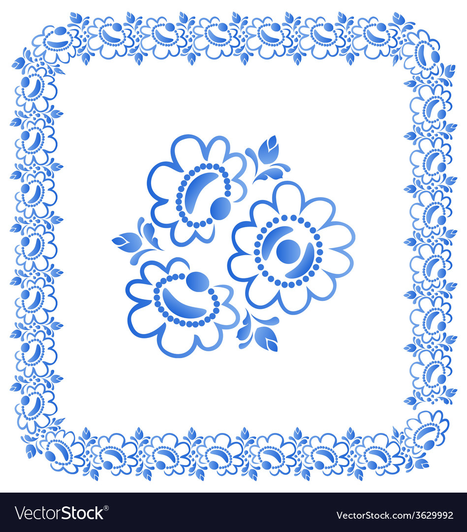 Decorative border with beautiful flowers vector | Price: 1 Credit (USD $1)