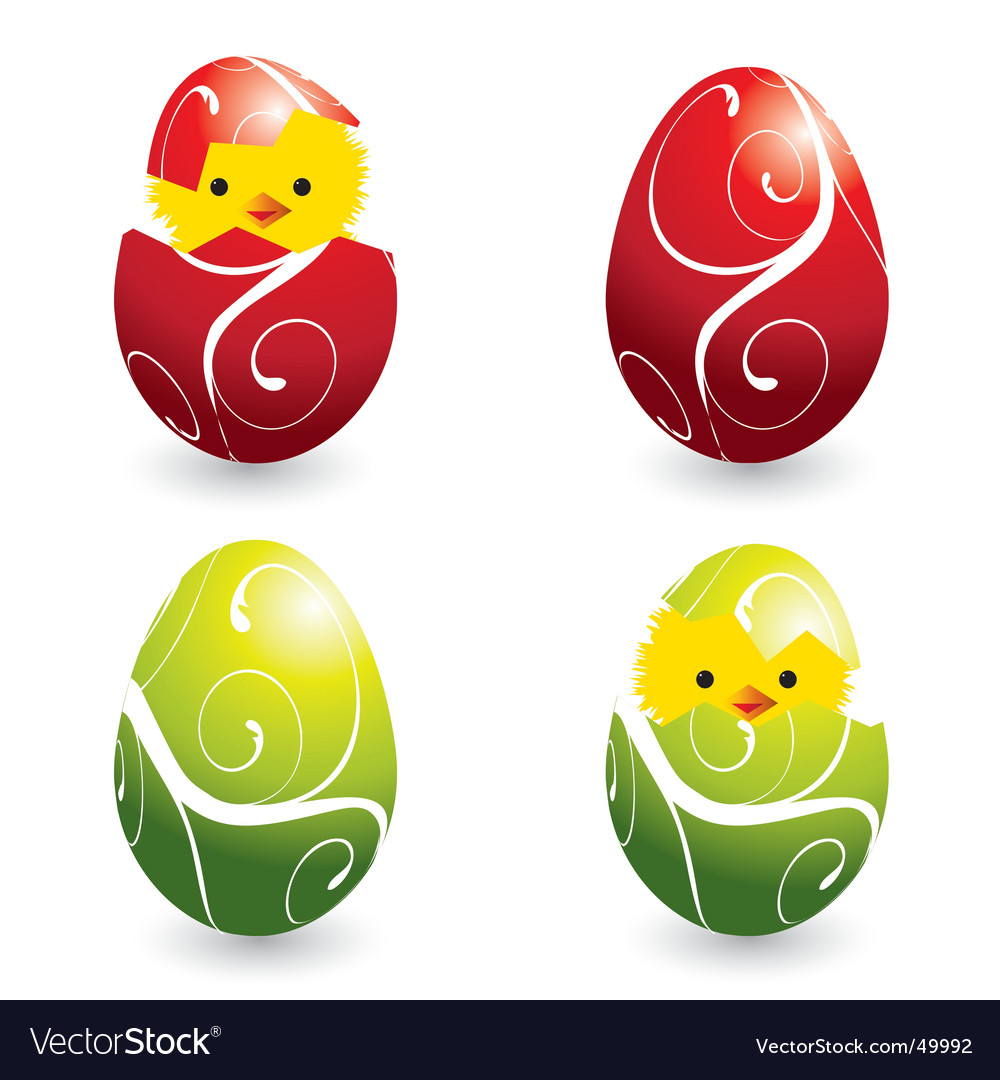 Easter eggs and hatching chicks vector | Price: 1 Credit (USD $1)