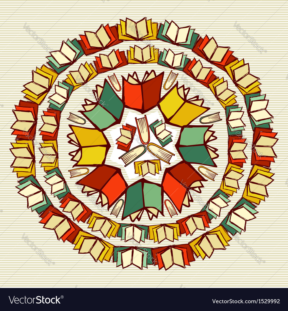 Education books back to school mandala vector | Price: 1 Credit (USD $1)