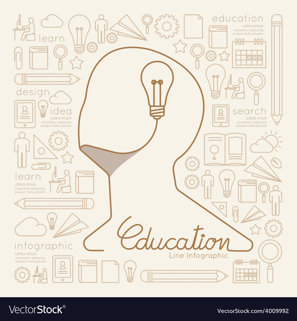 Flat linear infographic education man creative vector | Price: 1 Credit (USD $1)