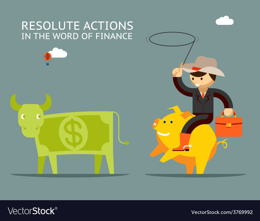 Fundraising concept businessman on pig catches vector | Price: 1 Credit (USD $1)