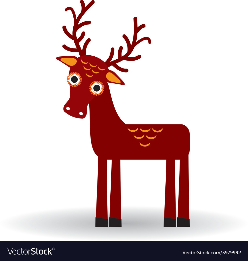 Funny deer on a white background vector | Price: 1 Credit (USD $1)