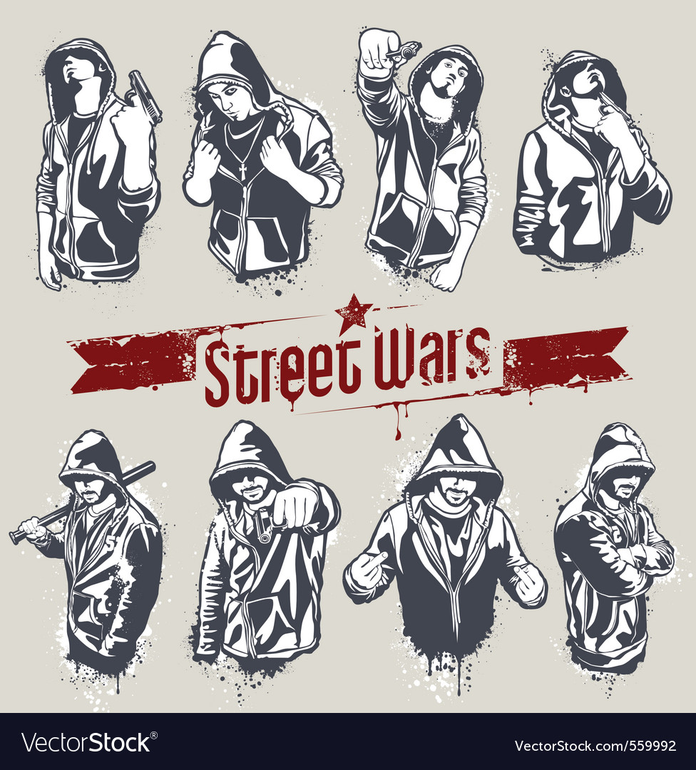 Hooded gangsters vector | Price: 3 Credit (USD $3)