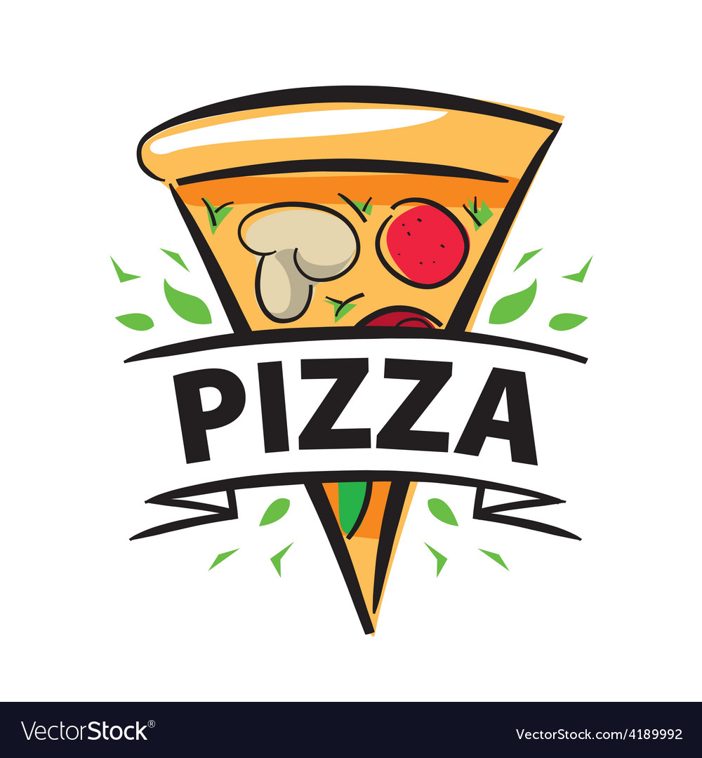 Logo slice of pizza and ribbon vector | Price: 1 Credit (USD $1)