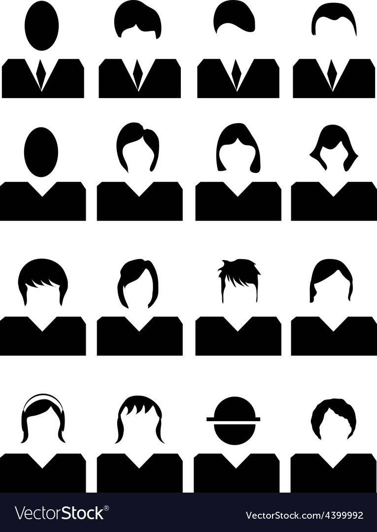 People avatar icons set vector | Price: 1 Credit (USD $1)