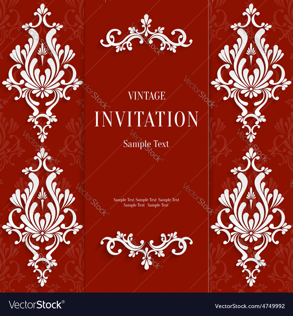 Red christmas vintage invitation card with vector | Price: 1 Credit (USD $1)
