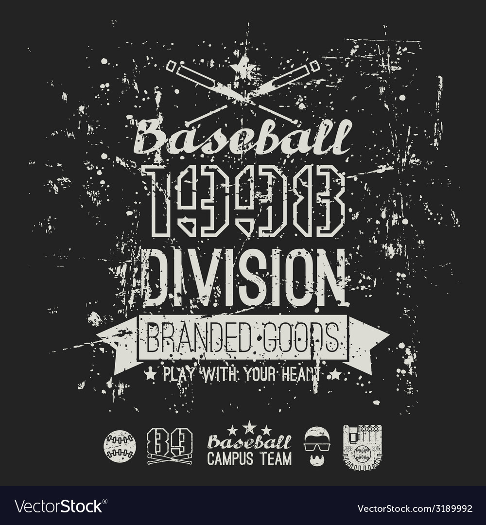 Retro emblem baseball division of college black vector | Price: 1 Credit (USD $1)
