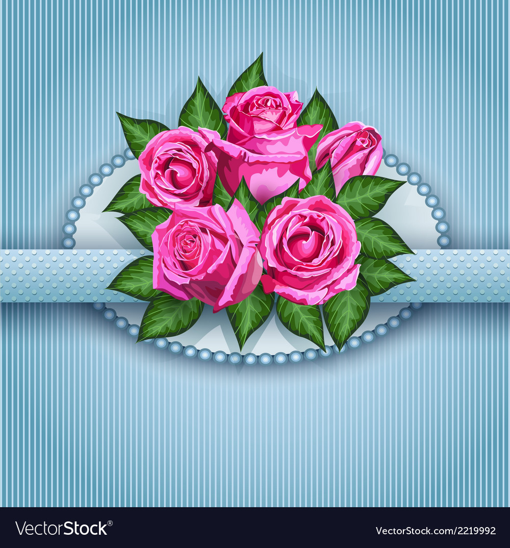 Roses postcard blue vector | Price: 1 Credit (USD $1)