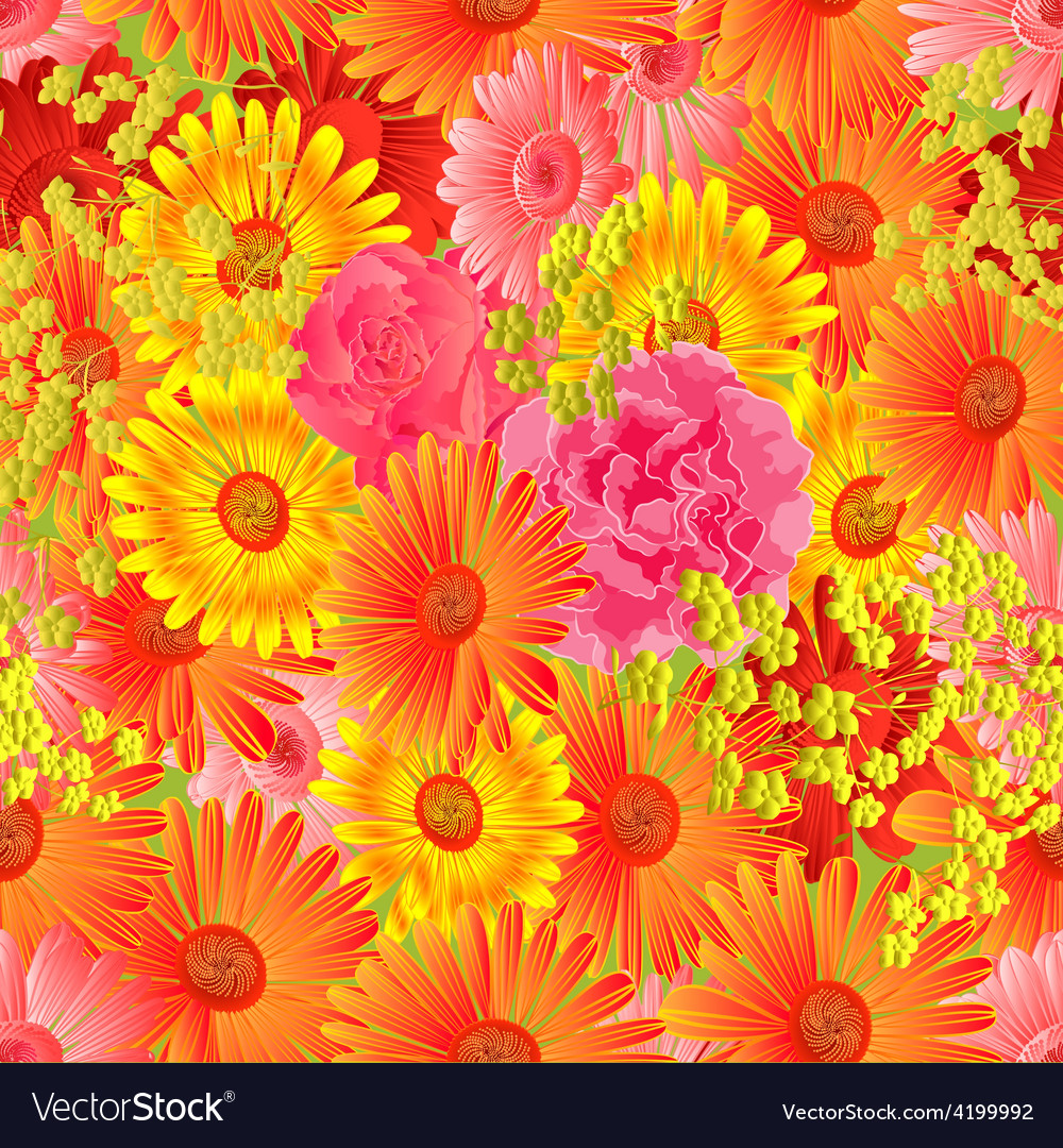 Seamless texture gerbera and roses vector | Price: 1 Credit (USD $1)