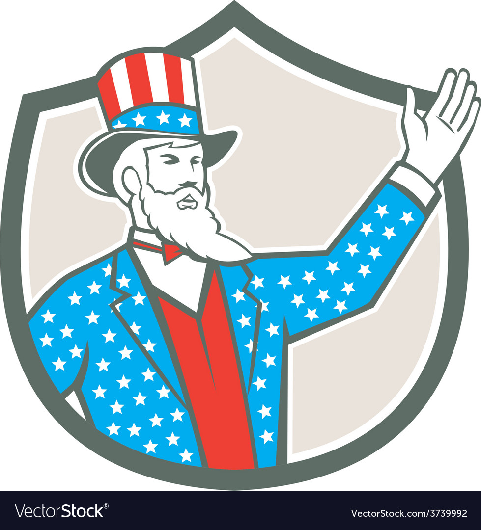 Uncle sam american hand up shield retro vector | Price: 1 Credit (USD $1)