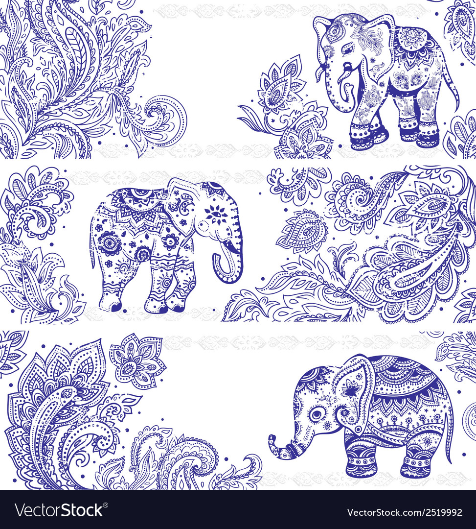 Vintage set of banners with ethnic elephants vector | Price: 1 Credit (USD $1)