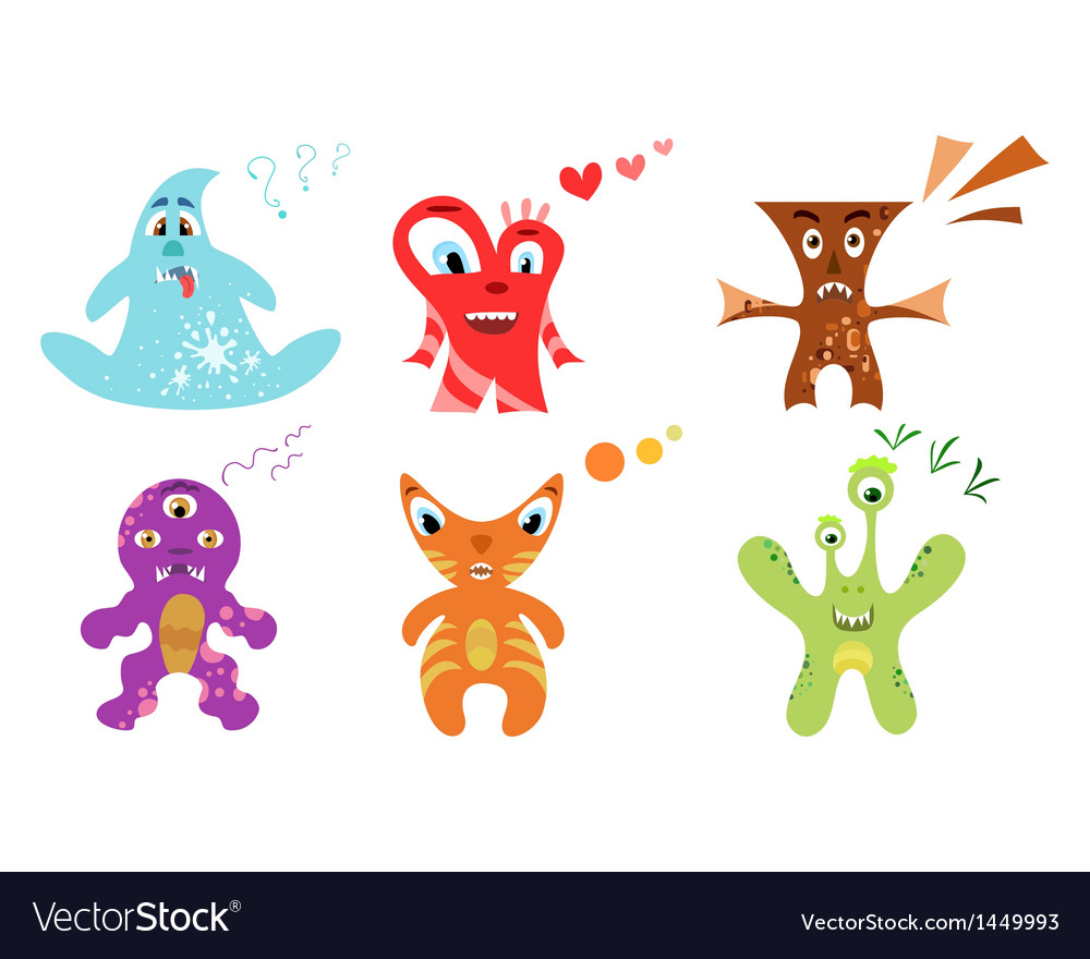 Cute colorful monster set vector | Price: 1 Credit (USD $1)