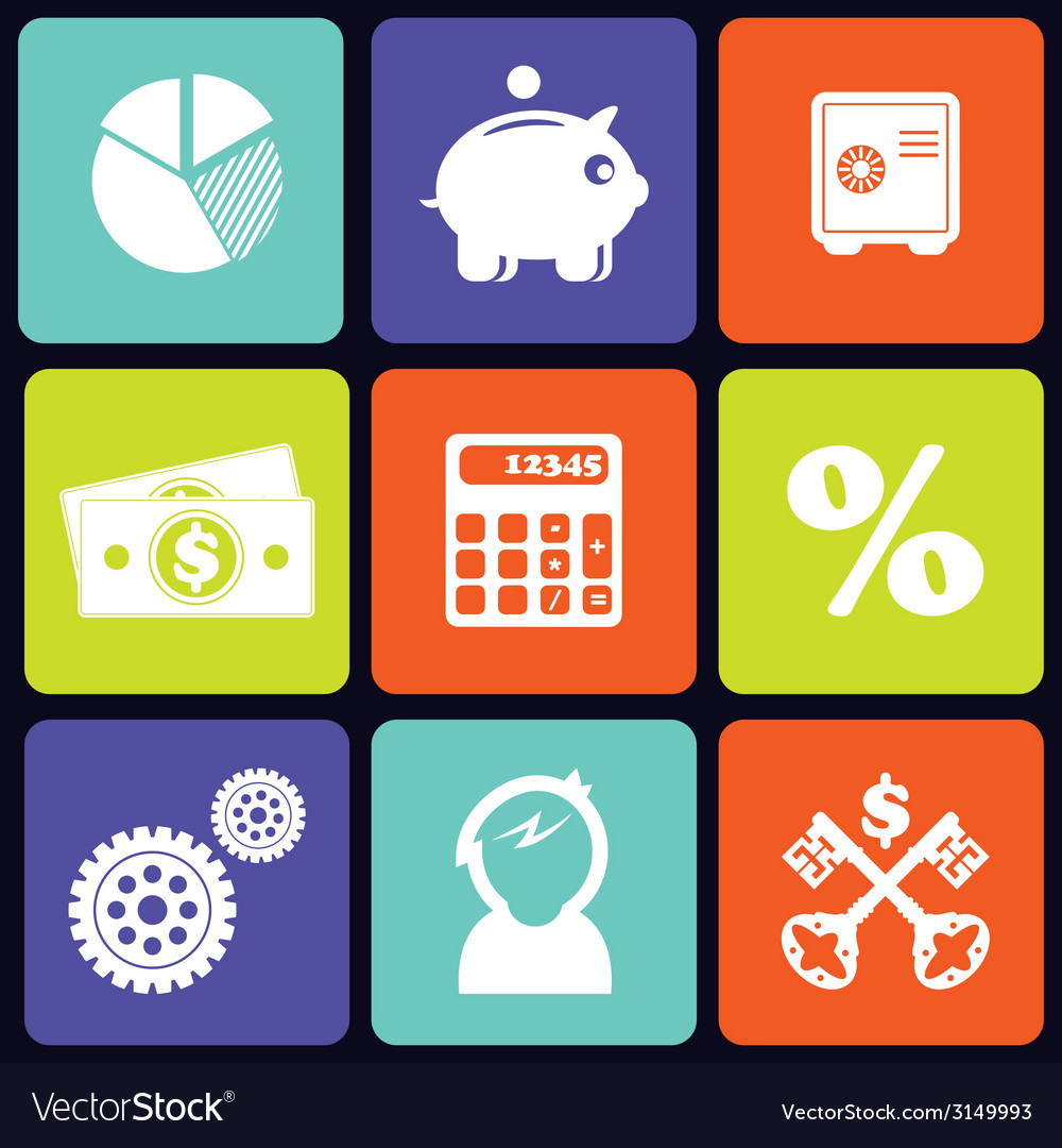 Finance icons square vector | Price: 1 Credit (USD $1)