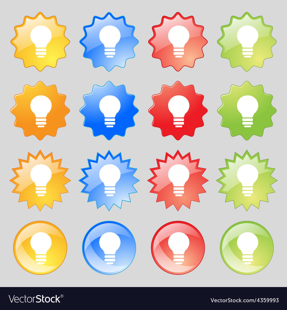 Light lamp idea icon sign big set of 16 colorful vector | Price: 1 Credit (USD $1)