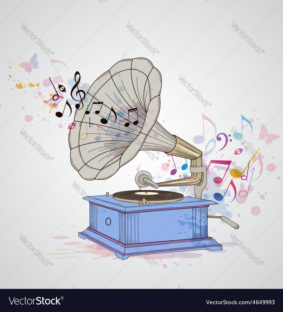 Retro music background with gramophone vector | Price: 1 Credit (USD $1)