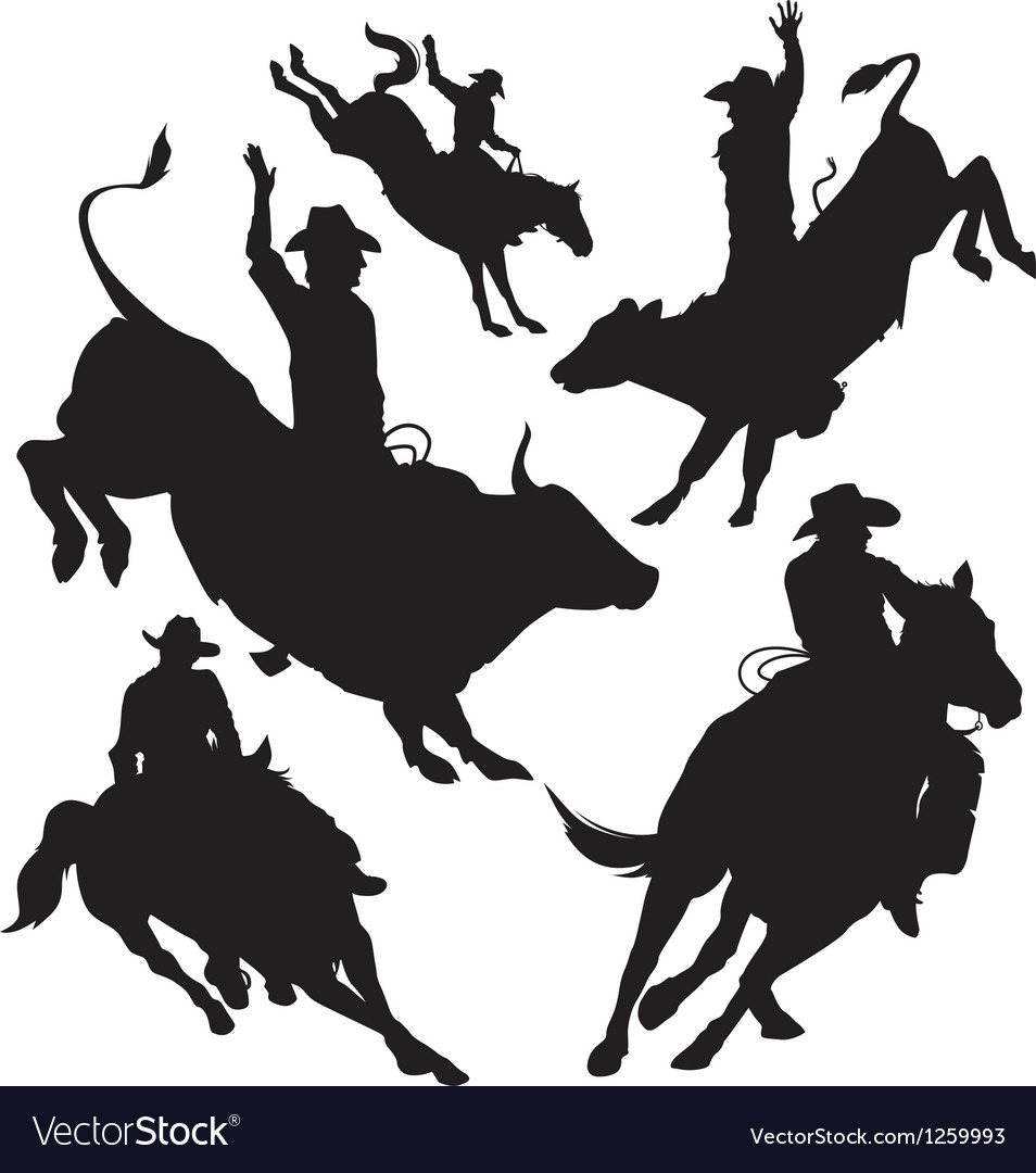 Rodeo silhouette vector | Price: 1 Credit (USD $1)