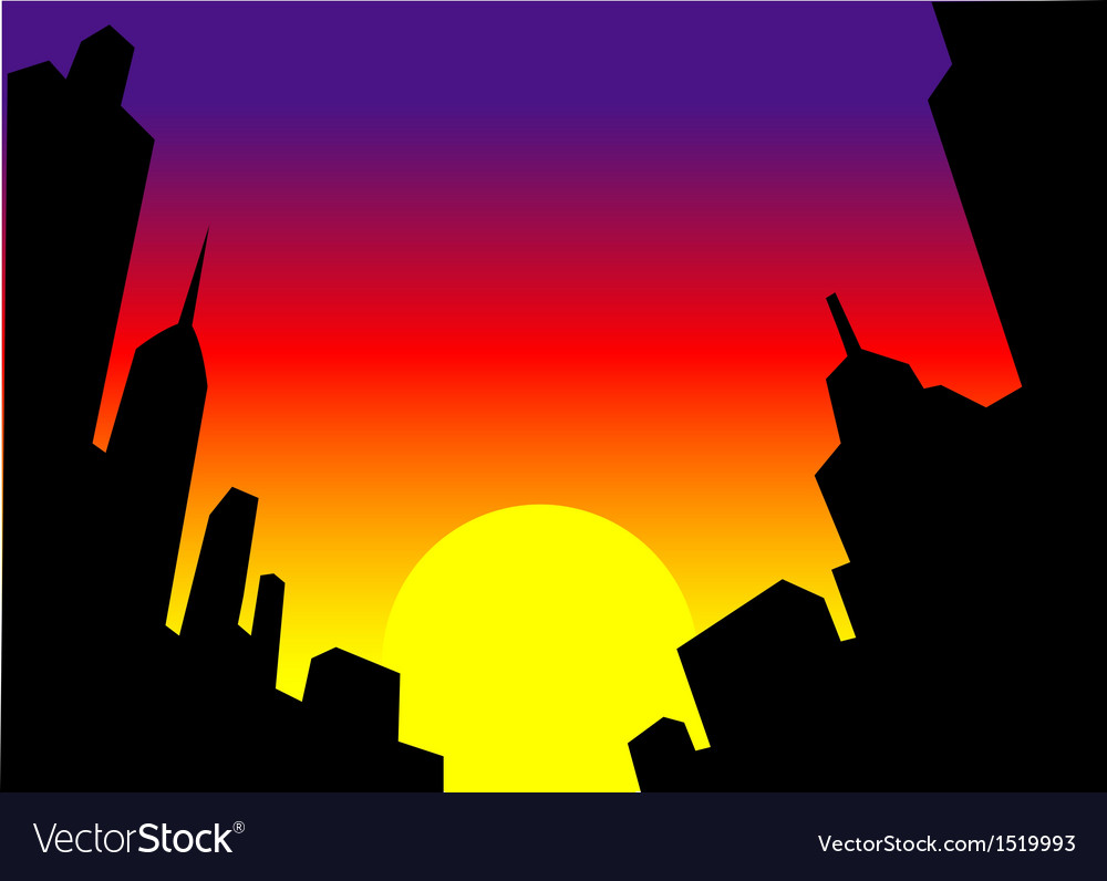 Sunset city skyline background vector | Price: 1 Credit (USD $1)