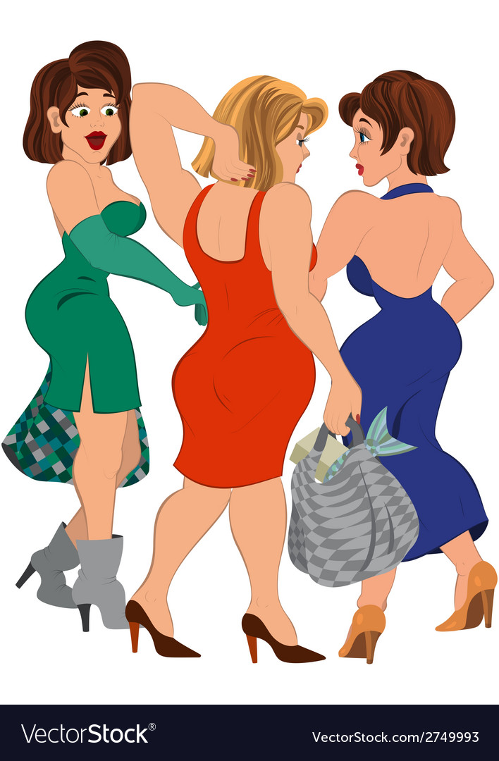 Three cartoon women with bags talking after vector | Price: 1 Credit (USD $1)