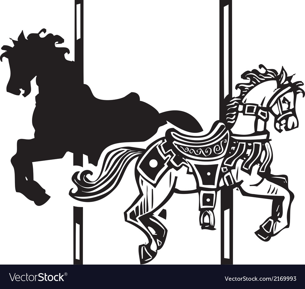Wooden carousel horse shadow vector | Price: 1 Credit (USD $1)
