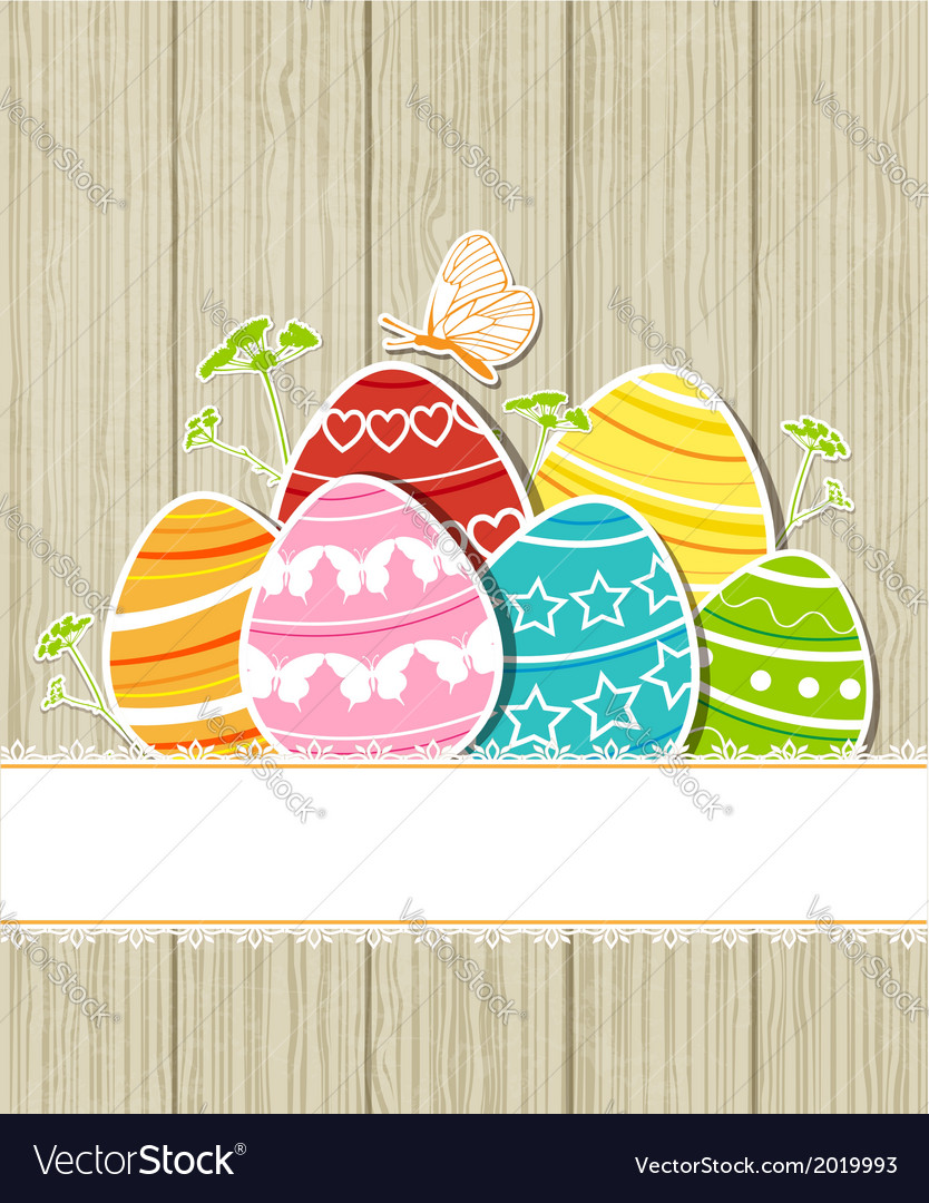 Wooden easter background with eggs vector | Price: 1 Credit (USD $1)