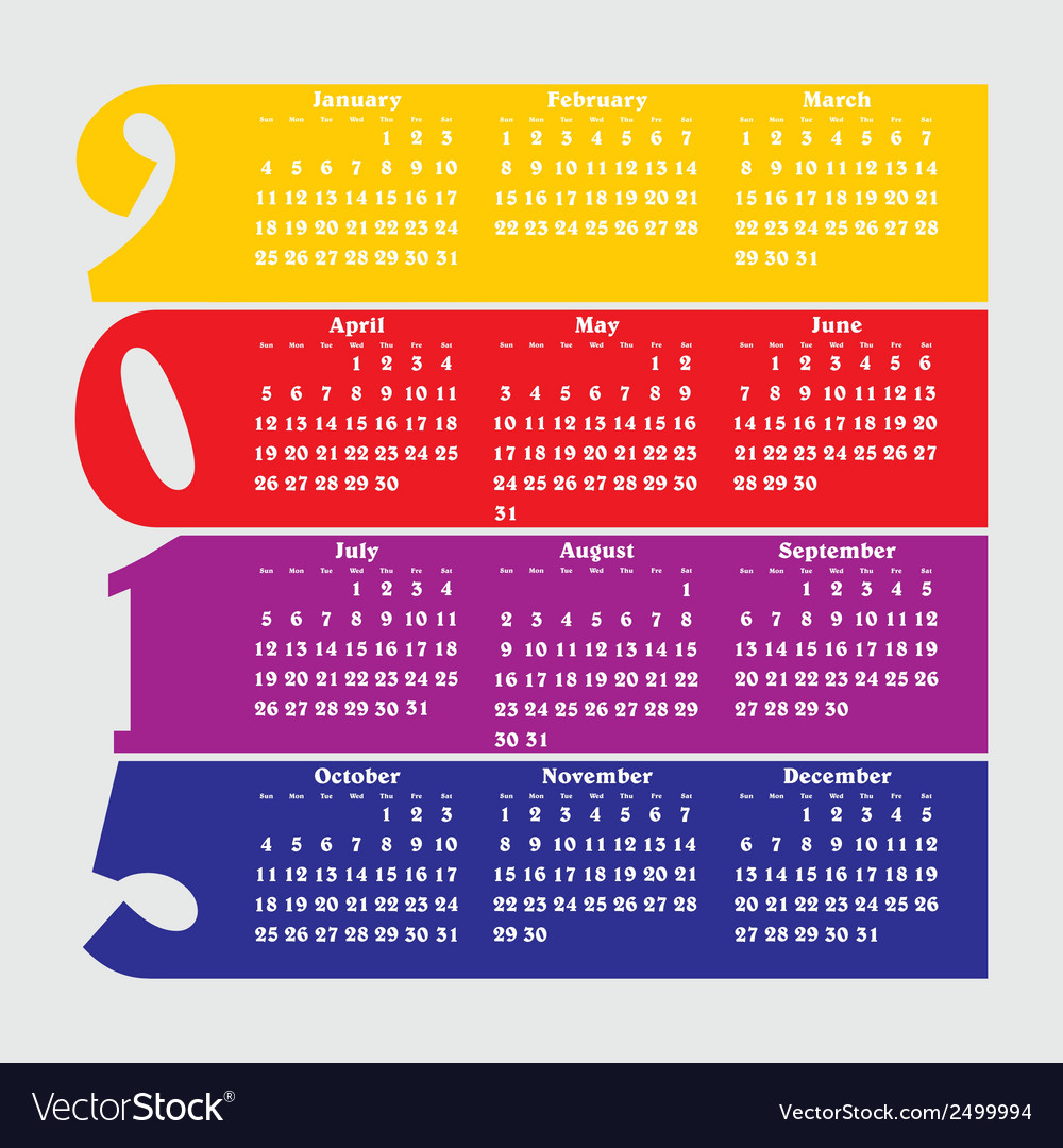 2015 calendar with flat numbers and long shadows vector | Price: 1 Credit (USD $1)